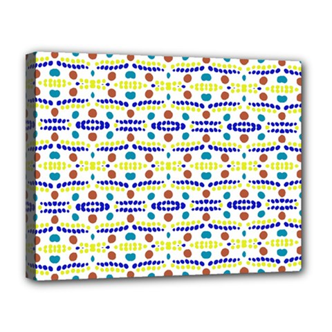 Retro Blue Yellow Brown Teal Dot Pattern Canvas 14  X 11  (stretched) by BrightVibesDesign