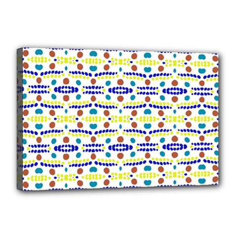 Retro Blue Yellow Brown Teal Dot Pattern Canvas 18  X 12  (stretched) by BrightVibesDesign