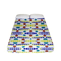 Retro Blue Yellow Brown Teal Dot Pattern Fitted Sheet (full/ Double Size) by BrightVibesDesign