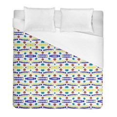 Retro Blue Yellow Brown Teal Dot Pattern Duvet Cover (full/ Double Size) by BrightVibesDesign