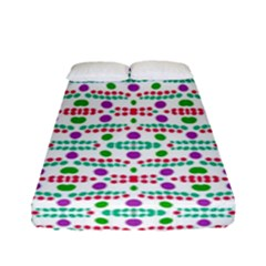 Retro Purple Green Pink Pattern Fitted Sheet (full/ Double Size) by BrightVibesDesign
