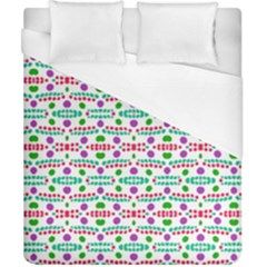 Retro Purple Green Pink Pattern Duvet Cover (california King Size) by BrightVibesDesign