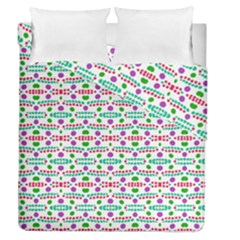 Retro Purple Green Pink Pattern Duvet Cover Double Side (queen Size) by BrightVibesDesign