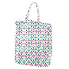 Retro Purple Green Pink Pattern Giant Grocery Tote
