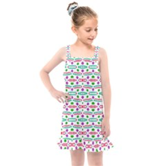 Retro Purple Green Pink Pattern Kids  Overall Dress