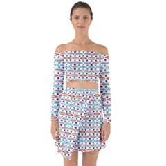 Retro Pink Green Blue Orange Dots Pattern Off Shoulder Top With Skirt Set