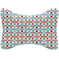 Retro Pink Green Blue Orange Dots Pattern Seat Head Rest Cushion by BrightVibesDesign