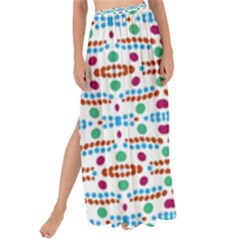 Retro Pink Green Blue Orange Dots Pattern Maxi Chiffon Tie Up Sarong by BrightVibesDesign
