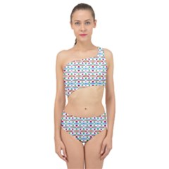 Retro Pink Green Blue Orange Dots Pattern Spliced Up Two Piece Swimsuit