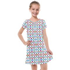 Retro Pink Green Blue Orange Dots Pattern Kids  Cross Web Dress by BrightVibesDesign