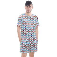 Retro Pink Green Blue Orange Dots Pattern Men s Mesh Tee And Shorts Set by BrightVibesDesign