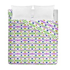 Retro Blue Purple Green Olive Dot Pattern Duvet Cover Double Side (full/ Double Size) by BrightVibesDesign