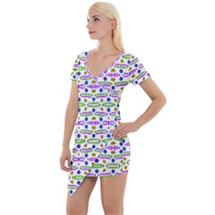 Retro Blue Purple Green Olive Dot Pattern Short Sleeve Asymmetric Mini Dress by BrightVibesDesign