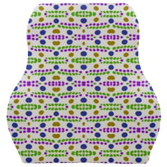Retro Blue Purple Green Olive Dot Pattern Car Seat Velour Cushion  by BrightVibesDesign