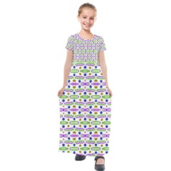 Retro Blue Purple Green Olive Dot Pattern Kids  Short Sleeve Maxi Dress by BrightVibesDesign