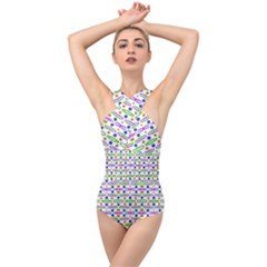 Retro Blue Purple Green Olive Dot Pattern Cross Front Low Back Swimsuit