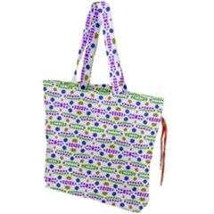Retro Blue Purple Green Olive Dot Pattern Drawstring Tote Bag by BrightVibesDesign