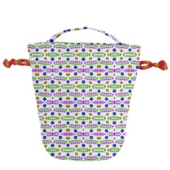 Retro Blue Purple Green Olive Dot Pattern Drawstring Bucket Bag by BrightVibesDesign