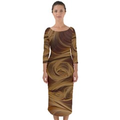 Paper Art Paper Art Eddy Yellow Quarter Sleeve Midi Bodycon Dress