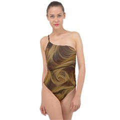 Paper Art Paper Art Eddy Yellow Classic One Shoulder Swimsuit by Sapixe