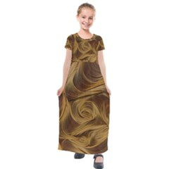 Paper Art Paper Art Eddy Yellow Kids  Short Sleeve Maxi Dress by Sapixe