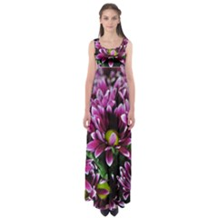 Maroon And White Mums Empire Waist Maxi Dress