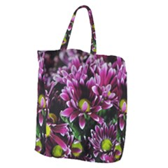 Maroon And White Mums Giant Grocery Tote