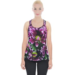 Maroon And White Mums Piece Up Tank Top