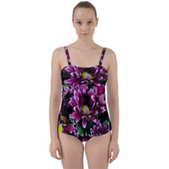 Maroon And White Mums Twist Front Tankini Set