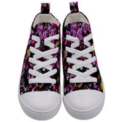 Maroon And White Mums Kid s Mid-top Canvas Sneakers