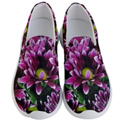 Maroon And White Mums Men s Lightweight Slip Ons