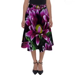 Maroon And White Mums Perfect Length Midi Skirt