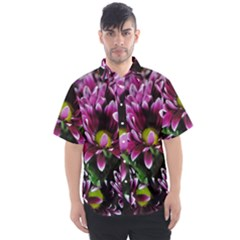 Maroon And White Mums Men s Short Sleeve Shirt