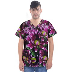 Maroon And White Mums Men s V-neck Scrub Top