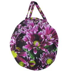 Maroon And White Mums Giant Round Zipper Tote