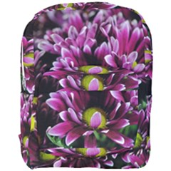 Maroon And White Mums Full Print Backpack