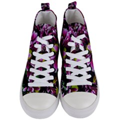 Maroon And White Mums Women s Mid-top Canvas Sneakers