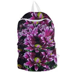 Maroon And White Mums Foldable Lightweight Backpack