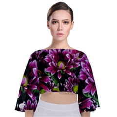 Maroon And White Mums Tie Back Butterfly Sleeve Chiffon Top