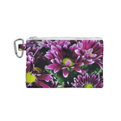 Maroon And White Mums Canvas Cosmetic Bag (small)