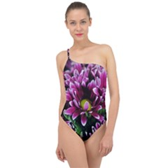 Maroon And White Mums Classic One Shoulder Swimsuit