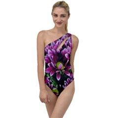 Maroon And White Mums To One Side Swimsuit