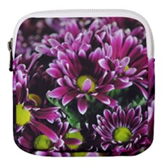 Maroon And White Mums Mini Square Pouch