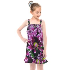 Maroon And White Mums Kids  Overall Dress
