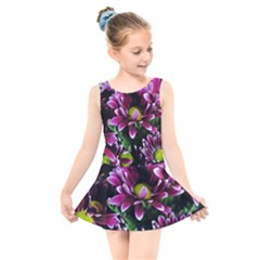 Maroon And White Mums Kids  Skater Dress Swimsuit