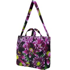 Maroon And White Mums Square Shoulder Tote Bag