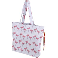 Pink Flamingo Pattern Classic Drawstring Tote Bag by CrypticFragmentsColors