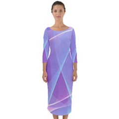 Background Light Glow Abstract Art Quarter Sleeve Midi Bodycon Dress