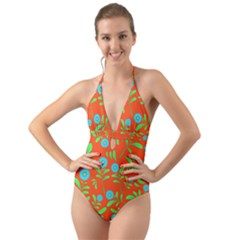 Background Texture Seamless Flowers Halter Cut Out One Piece Swimsuit