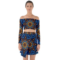 Pattern Abstract Background Art Off Shoulder Top With Skirt Set
